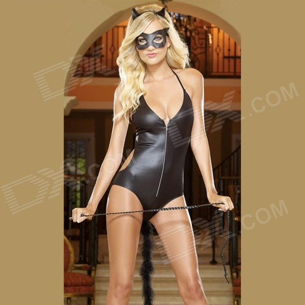 Women's Sexy Tempting Cat Style Leather One-Piece Lingerie w/ Mask for Halloween Party - Black (XL)