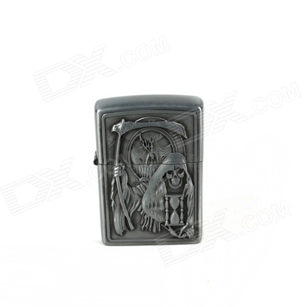 Cool Death Scythe Relievo Kerosene Lighter - Silver