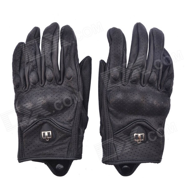 NEJE LN0001-2 Perforated Sheepskin Leather Motorcycle Racing Gloves - Black (L / Pair)