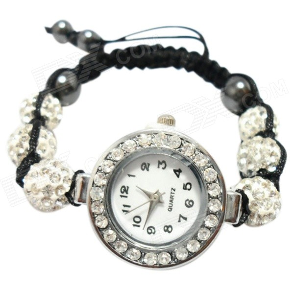 Women's Rhinestones Decorated Alloy Case Quartz Analog Bracelet Wrist Watch - Silver (1 x 377) stylish women s zinc alloy quartz analog wrist watch bracelet w beads silver black 1 x 377