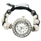 Women's Rhinestones Decorated Alloy Case Quartz Analog Bracelet Wrist Watch - Silver (1 x 377)