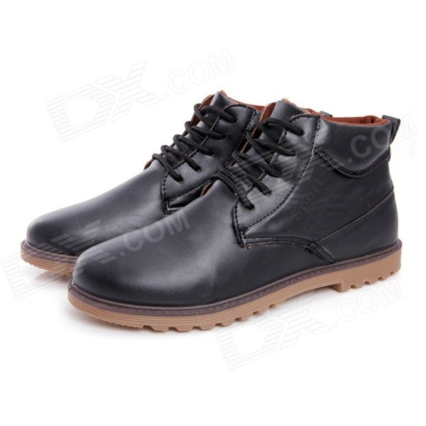 N05 Casual Men's Warm Winter PU + Wool Martin / Ankle Boots - Black (Size 43 / Pair) large size 33 42 sexy ankle boots platform thin high heels women boots plush inside keep warm black white apricot brown shoes