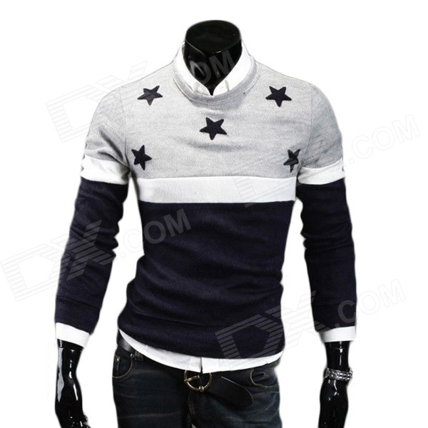 700-MJ11 Men's Fashion Stars Pattern Cotton Blended Splicing Sweater - Light Grey + Navy Blue (XL)