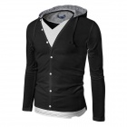 1414-wy44 Two-Piece Style Men's Leisure Cotton Blended Hoodie Jacket - Black (XL)