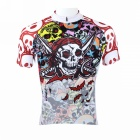 Paladinsport Men's Skull Patterned Short-sleeved Dacron Cycling Jersey - White + Red (XXL)