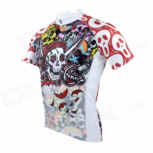 Paladinsport Men's Skull Patterned Short-sleeved Dacron Cycling Jersey - White + Red (XXXL)