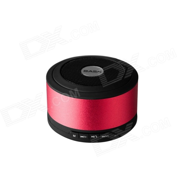 BASN D101 Portable Bluetooth v3.0 + EDR Speaker w/ Microphone / TF - Red + Black s08 portable 3w bluetooth v3 0 speaker w micro sd tf fm microphone black