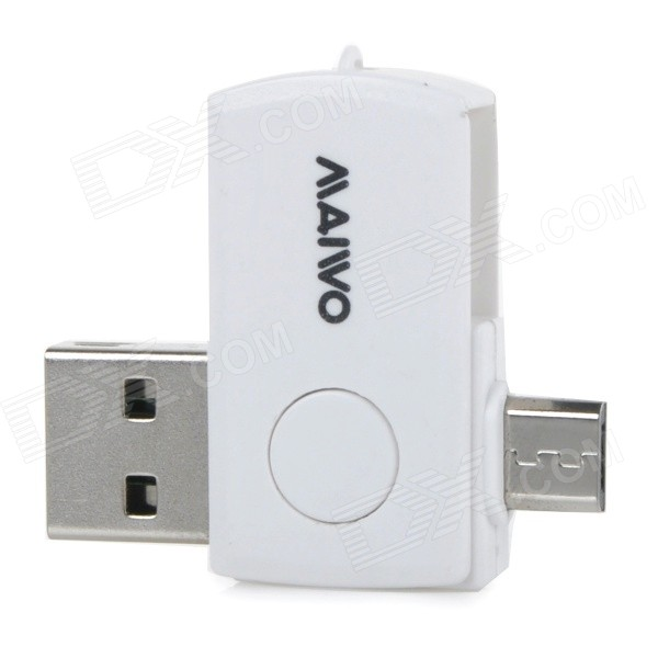 MAIWO KS05 Multi-functional Rotary Card Reader w/ USB / Micro USB / OTG / TF Slot for Android Phones 2 in 1 usb and micro usb otg tf sd card reader white