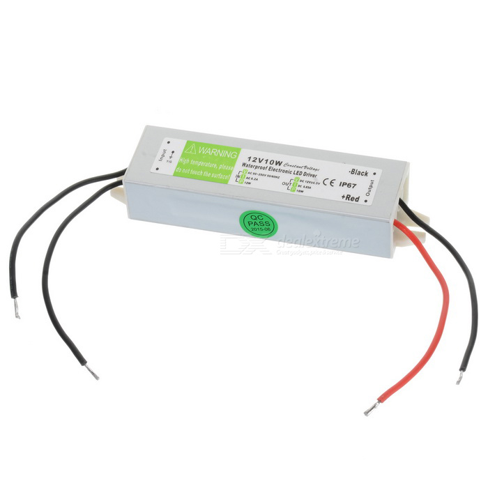 FS-10-12C Water-resistant 10W 12V Constant Voltage LED Driver for Lamp Light Strip - Silver + Green