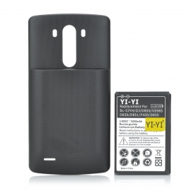 Replacement 8300mAh Li-ion Battery + Back Case for LG G3 + More -Black