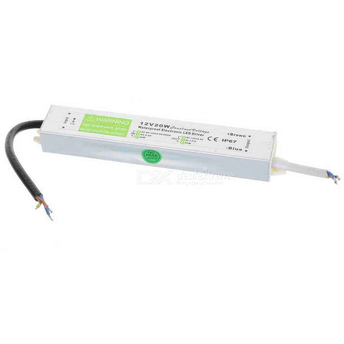 FS-20-12C Waterproof 20W 12V Constant Voltage LED Driver for Lamp / Light Strip - Silver + Green 90w led driver dc40v 2 7a high power led driver for flood light street light ip65 constant current drive power supply