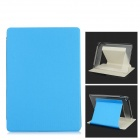 Plaid Protective PC + PU Full Body Case w/ Stand / Auto Sleep for IPAD AIR 2 - Light Blue + White