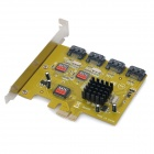 PCI-Express to 4-Port SATA 2.0 Expansion Card Module - Yellow + Multicolored