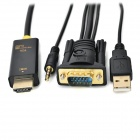 VGA + 3.5mm Audio + USB to HDMI Adapter Cable w/ R/L Cable - Black (198cm)