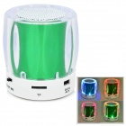 Mini Portable Bluetooth V2.0 MP3 Player / Speaker w/ Mini USB / FM / TF / 4-LED - Green + White