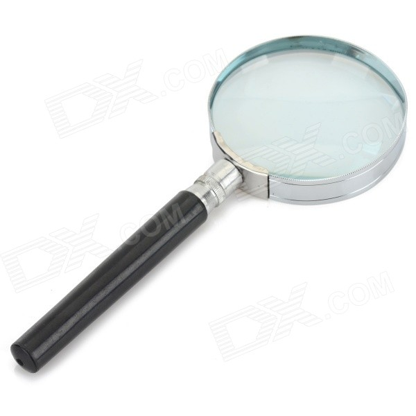 Handheld 5X 60mm Plastic Round Glass Magnifier - Black
