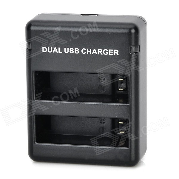 2-Slot Battery Dual Charger w/ Mini USB for GoPro Hero 4 / GoPro AHDBT-40 - Black
