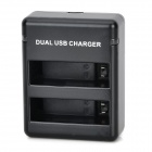 2-Slot Battery Dual Charger w / Mini-USB für GoPro Hero 4 / GoPro AHDBT-40 - Schwarz