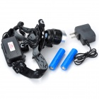 Outdoor 300lm 3-Mode Cool White Light LED Headlamp - Black (2 x 18650)