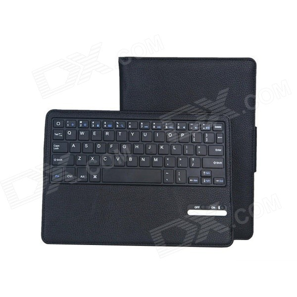 Bluetooth V3.0 64-Key Keyboard w/ Removable PU Flip Open Case for IPAD AIR 2 - Black