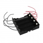 DIY 4-Slot 18650 Battery Holder w/ 8 Leads - Black