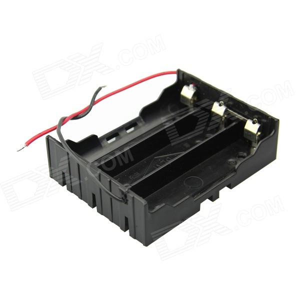3 -Slot DIY Series Holder 18650 w / 2 conduttori - Nero