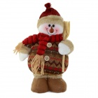 SMKJ 820B Christmas Snowman Doll Gift - Brown + Red
