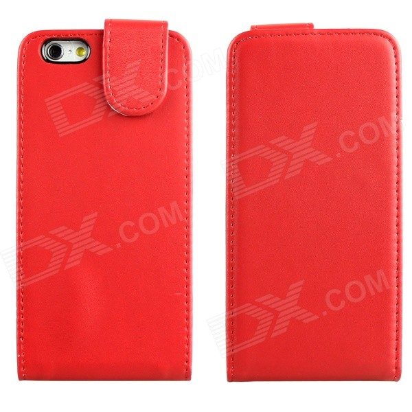 DF-028 Protective Top Flip Open PU Leather + Plastic Case for IPHONE 6 4.7 - Red protective pu leather plastic flip open case for iphone 5 5s red