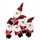 Cute White-bearded Santa Claus Style Christmas Pendant Ornament Doll - White + Red (5 PCS)