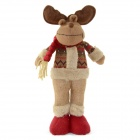 820A Christmas EIk Doll Gift - Brown + Red