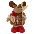 820A Cute Christmas EIk Style Doll Gift - Brown + Red