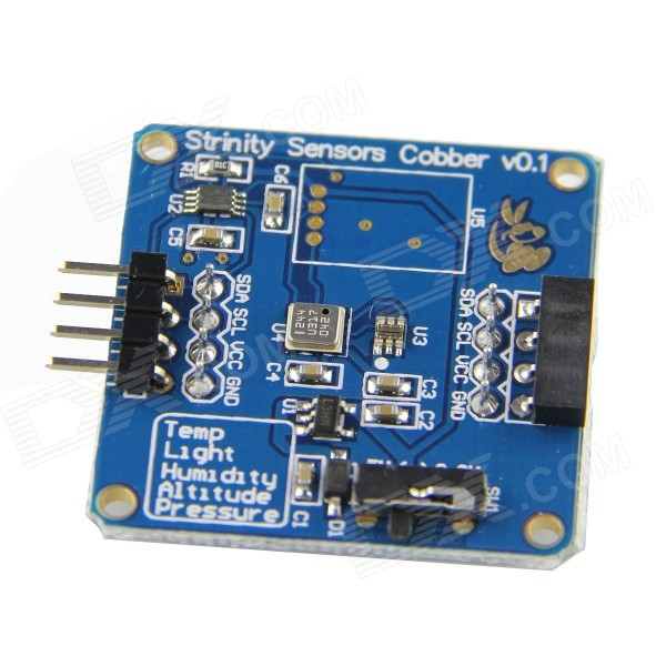 4-in-1 Temperature + Pressure + Altitude + Light Sensor Module for Raspberry Pi / Arduino - Blue tengying rtc direct extension compatible board for raspberry pi to arduino red