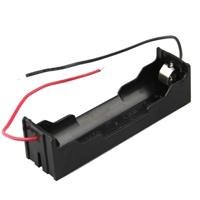 DIY 1-Slot 18650 Battery Holder w/ 2 Leads - Black