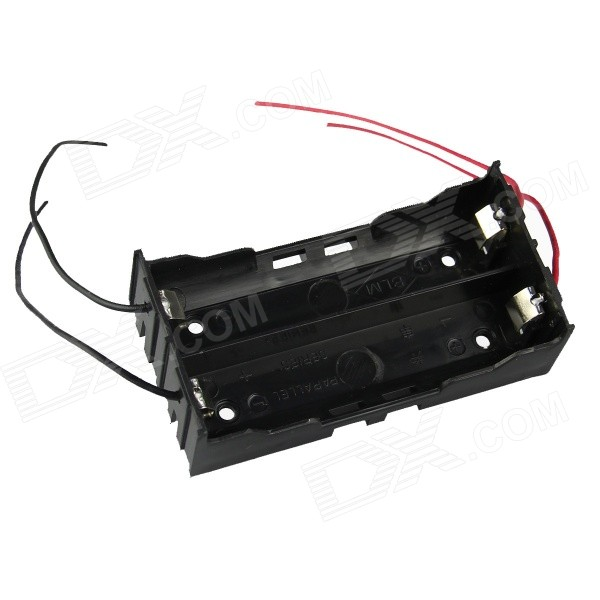 DIY 2-Slot 18650 Battery Holder w / 4 Leads - Negro