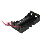 DIY 2-Slot Series 18650 Battery Holder w/ 2 Leads - Black