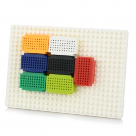 KEYES Solderless Mini 55-Hole Bread Board + PCB Test Board Set - White + Multi-Colored