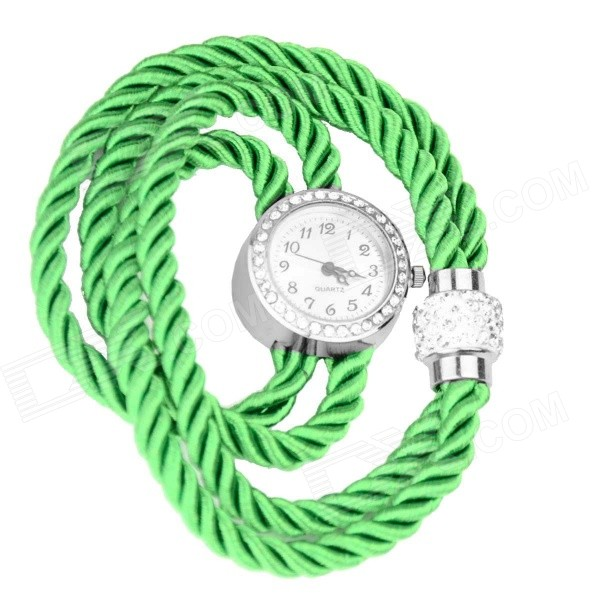 Women's Rhinestone-studded Fluorescent Rope Band Quartz Analog Bracelet Watch - Green (1 x 377)