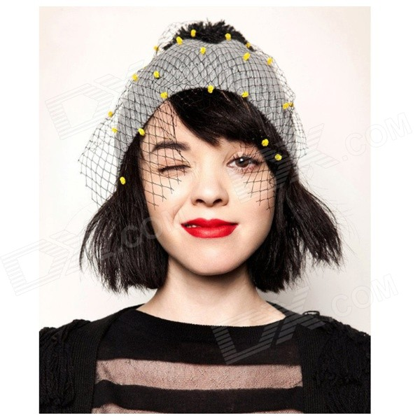 DF-08 Women's Stylish Knitting Wool + Mesh Yarn Hat - Grey + Yellow the new children s cubs hat qiu dong with cartoon animals knitting wool cap and pile
