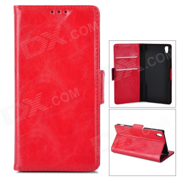 PU Leather + PU Full Body Case w/ Stand + Card Slot for Sony Z3 - Red