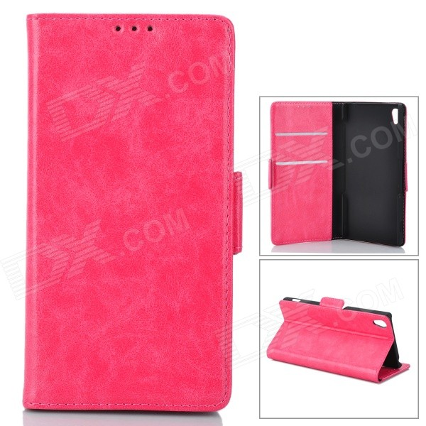 PU Leather + PU Full Body Case w/ Stand + Card Slot for Sony Z3 - Deep Pink telephone box pu leather full body case with stand and card slot and money holder for iphone 4 4s