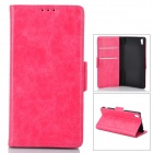 PU-Leder + PU Full Body Case w / Stand + Card Slot für Sony Z3 - Deep Pink