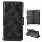 PU Leather + PU Full Body Case w/ Stand + Card Slot for Sony Z3 - Black