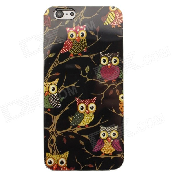 "Shimmering Owl Pattern Protective TPU Back Case for 4.7"" IPHONE 6 -  Black + Multicolored"