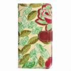 Country Style Flower Grain Cloth TPU + PU Protective Full Body Case for LG G3 - Green