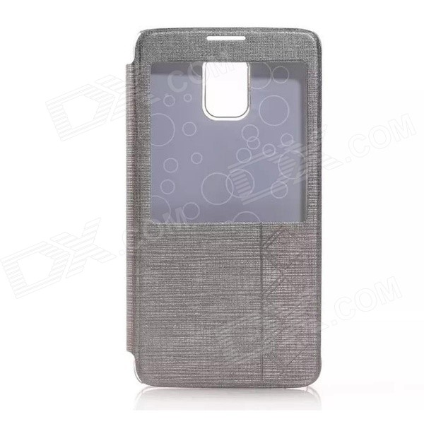 Solid Color PU Leather Case w/ Viewing Window for Samsung Galaxy Note 4 - Gray samsung galaxy note 10 1 16гб 3g gray