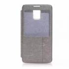 Solid Color PU Leather Case w/ Viewing Window for Samsung Galaxy Note 4 - Gray