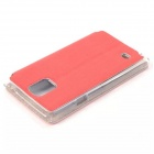 Solid Color PU Leather Case w/ Viewing Window for Samsung Galaxy Note 4 - Red