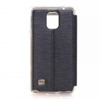 Solid Color PU Leather Case w/ Viewing Window for Samsung Galaxy Note 4 - Black