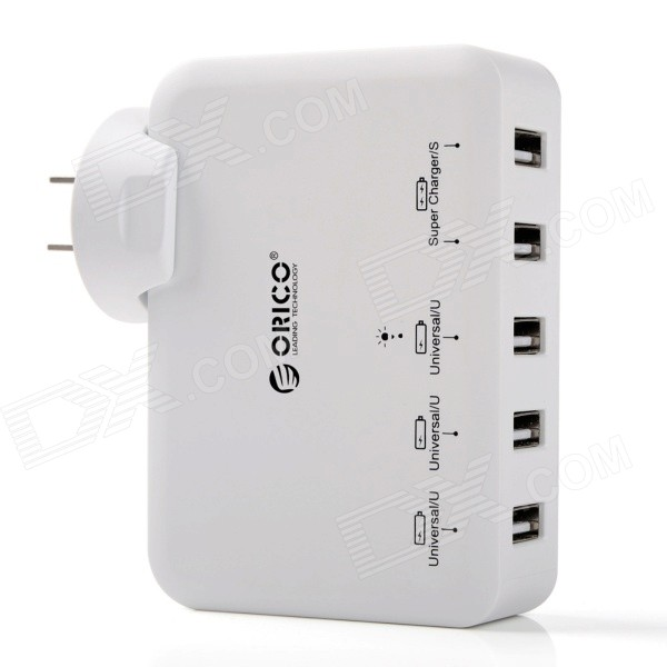 ORICO DCAP-5U-WH 5 Ports USB Wall Charger for Tablet PC / Cellphone - White (US Plug) universal 2 in 1 0 65x wide angle macro lens glass filter for cellphone tablet pc black