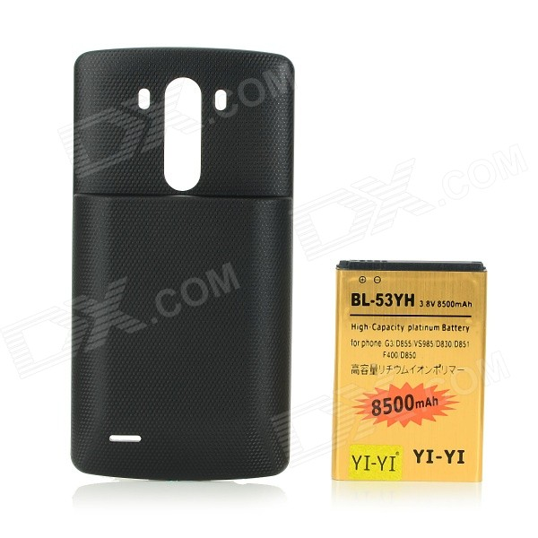3.8V 7000mAh High-Capacity Li-ion Battery + Battery Pack for LG G3 + BL-53YH + D855 + More - Black
